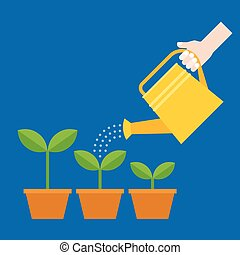 Hand holding watering can watering plant in pot, flat design vector