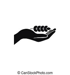 Hand holding wheat ear icon, simple style