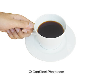 hand holding white cup of coffee