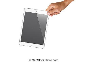 hand holding white ipad mini - a hand holding ipad mini at...
