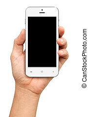 Hand holding White Smartphone with blank screen on white...