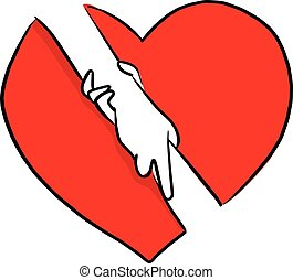 hand holding with help gesture in red heart shape sign background vector illustration sketch doodle hand drawn with black lines isolated on white background