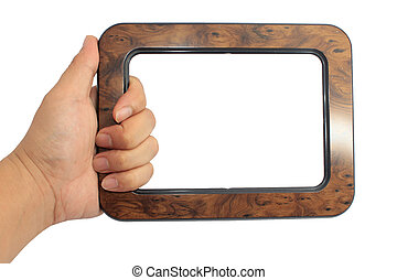 Hand holding wooden frame isolated