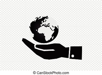Hand holding world globe