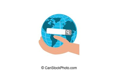 hand holding world searching button animation hd