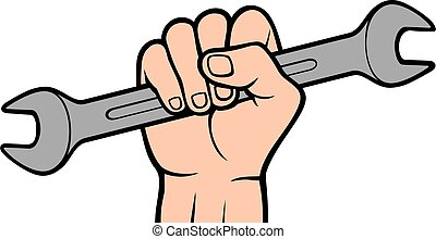 Hand holding wrench tool color vector
