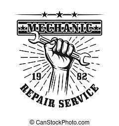 Hand holding wrench vector emblem, label, badge