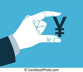 Hand holding yen symbol