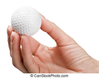 hand holds a ball for golf