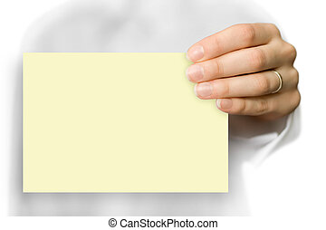 blank yellow business card