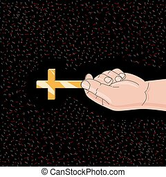 Hand holds a golden cross on black background
