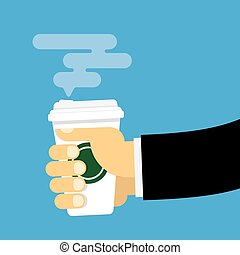 Hand holds a paper cup of hot drink.