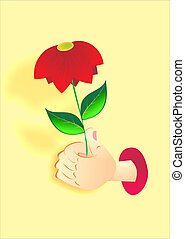 hand holds a red flower