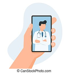Hand holds a smartphone with the image of doctor on screen.