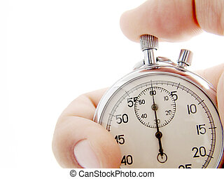 Hand holds a stopwatch. Stopwatch points at zero