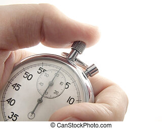 Stopwatch - Hand holds a stopwatch. Stopwatch points at zero