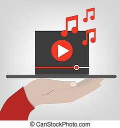 Hand holds a tablet with digital video player. flat illustration