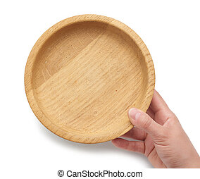 hand holds an empty brown wooden plate on a white isolated background
