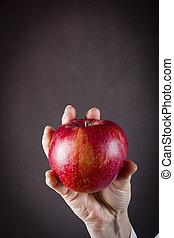 Hand holds apple