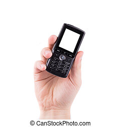 Hand holds black cell phone.