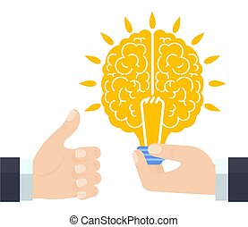 Hand holds brain. Attracts brain, knowledge. Investment in ideas. Exchange.