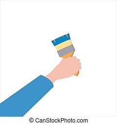 Hand holds brush, tool, illustration, vector isolated, cartoon style