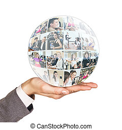 Hand holds collage of business people in sphere