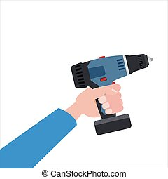 Hand holds electric screwdriver, tool, illustration, vector isolated, cartoon style