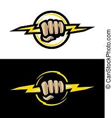 Hand holds lightning, logo on dark and light background. Vector illustration.