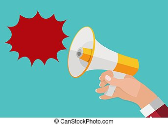Hand holds Megaphone and outgoing Speech Bubble. Vector...
