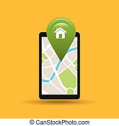 hand holds phone navigation app home