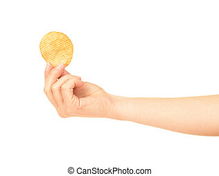 Hand holds potato chips. Isolated on a white background.
