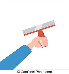Hand holds putty knife, tool, illustration, vector isolated, cartoon style