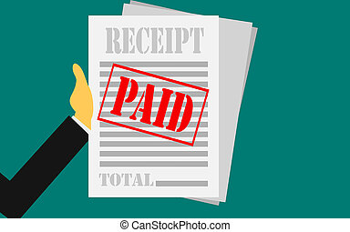 Hand holds receipt with paid stamp