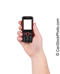 Hand holds red-black cell phone.