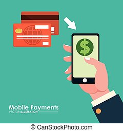 hand holds smartphone credit card mobile payments