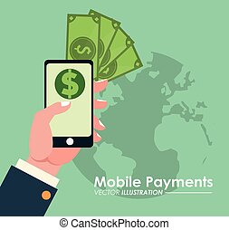 hand holds smartphone online mobile payments globe