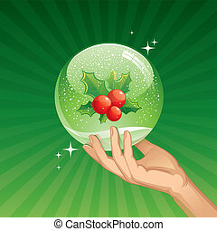Hand holds snow globe with Holly berries - vector illustration
