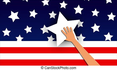 hand holds star to usa flag