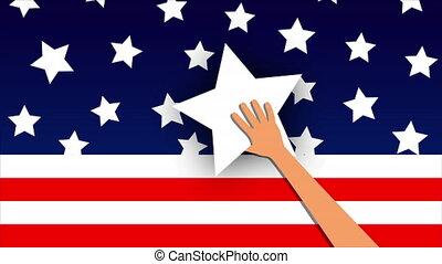 hand holds star to usa flag