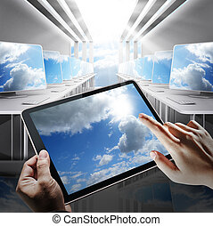cloud network concept - hand holds tablet computer as cloud...