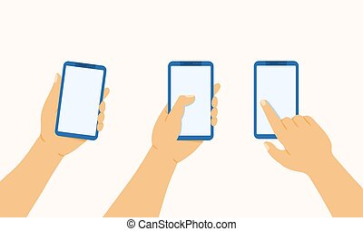 Hand holds the phone, presses and points a finger at a mobile phone, vector flat illustration