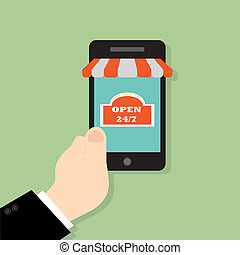 Hand holing smart phone. E-commerce flat design concept. Using mobile smart phone for online purchasing
