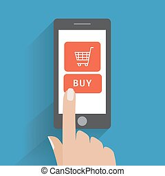 Hand holing smart phone with buy button on the screen - Hand...