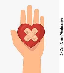 hand hols heart cure band icon