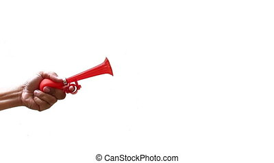 hand honk a horn on isolated