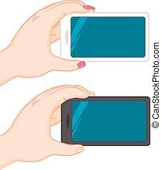 hand, horizontaal, smartphone, vasthouden, leeg