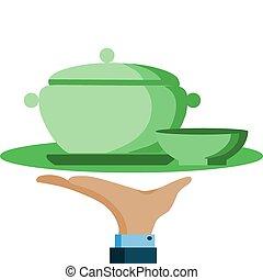 hand, houden, een, dienend dienblad, met, groene, pot, en,...