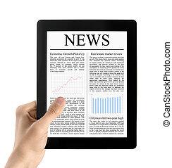 hand, houden, tablet pc, met, nieuws, vrijstaand