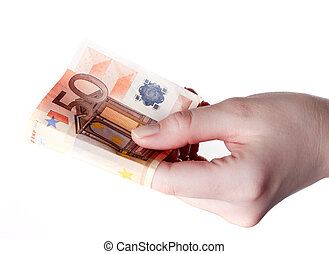 hand houdend, 50, eurobiljet, lonend, concept